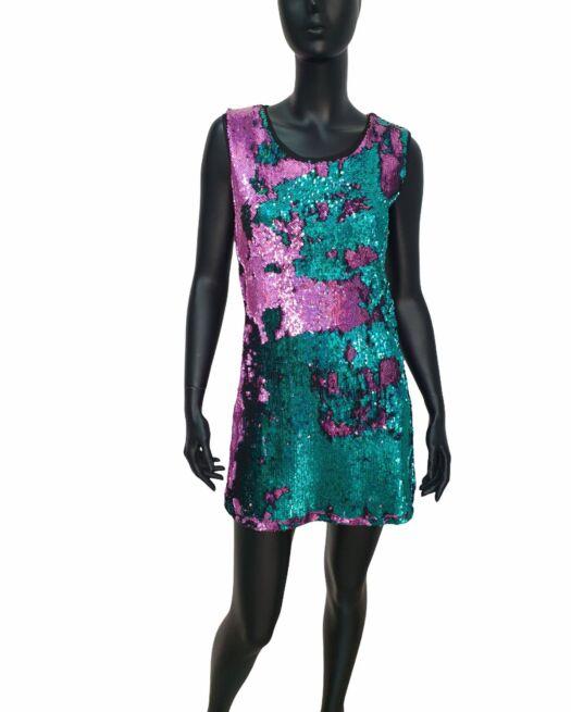 Φόρεμα μίνι στενό όλο παγιέτες δύχρωμες