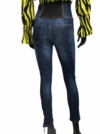 Τζιν παντελόνι ψηλόμεσο με λάστιχο στο πίσω μέρος κουμπιά από πετράδια 5άτσεπο
