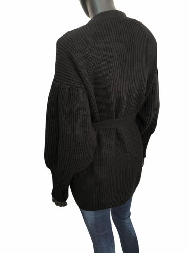 Πλεκτή ζακέτα χωρίς κουμπιά με ζώνη στη μέση και φουσκωτό μανίκι