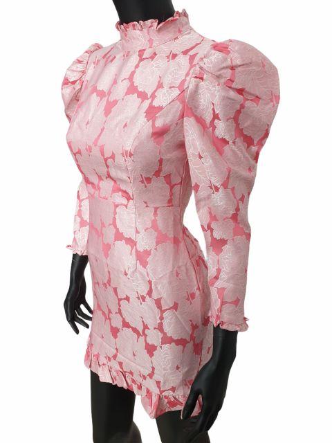 Φόρεμα βραδινό μίνι με ψηλό λαιμό φουσκωτά μανίκια και βολάν στο τελείωμα
